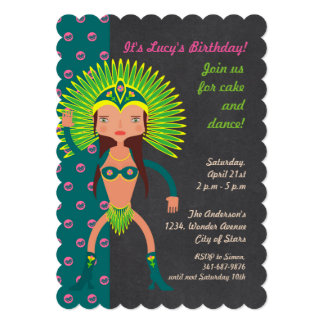Brazilian Samba girl Birthday Party invitation