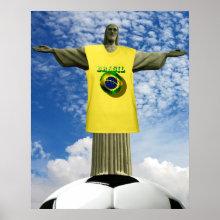 Brazilian Soccer Poster - Christ the Redeemer - Corcovado Mountain