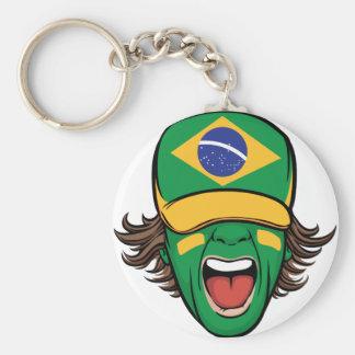 Brazilian Sports Fan Basic Round Button Keychain