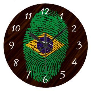 Brazilian touch fingerprint flag large clock