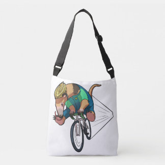 Brazilian Tree Anteater Riding A Bicycle Cartoon Crossbody Bag