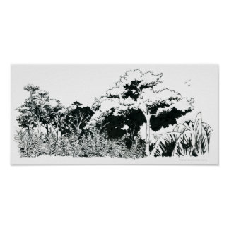 Brazilian trees field illustration Victor Diogenes Poster