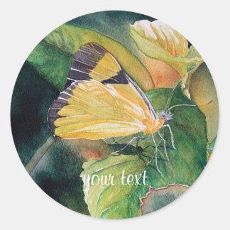 Brazilian Yellow Butterfly Classic Round Sticker