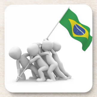 brazils flag beverage coasters