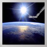 Brazo del robot sobre la tierra con resplandor sol