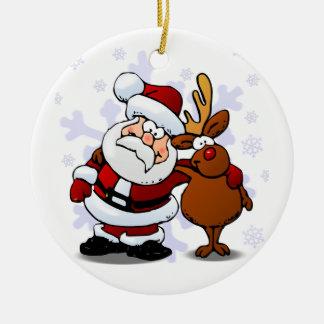 Brazo derecho de Santa y del reno en brazo Adorno Navideño Redondo De Cerámica