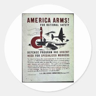 Brazos de América para la seguridad nacional Etiquetas Redondas