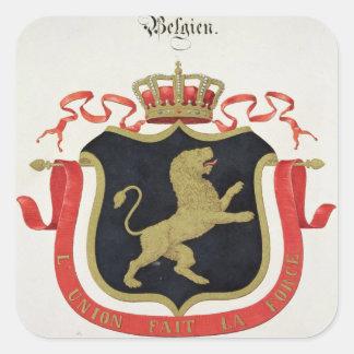Brazos de la familia real belga de un collectio calcomanías cuadradases