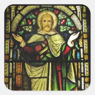 Brazos del Jesucristo Outstretched Pegatina Cuadrada