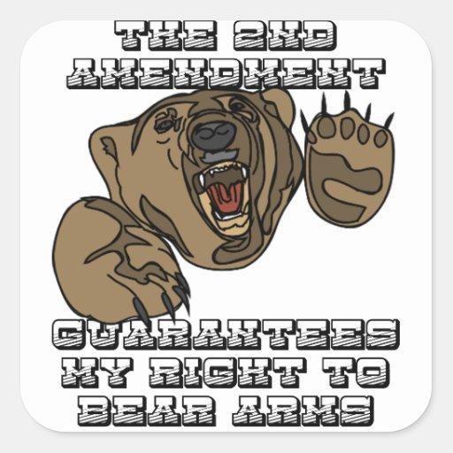 Brazos del oso calcomania cuadradas personalizadas