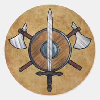 Brazos medievales pegatina redonda