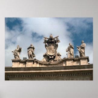 Brazos papales, tejado de San Pedro, Vatican Póster