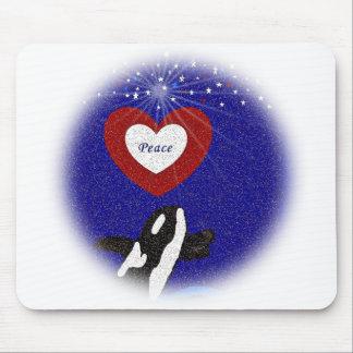 Breach for peace orca whale heart mousepad