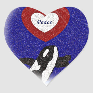 Breach for peace orca whale in a heart sticker