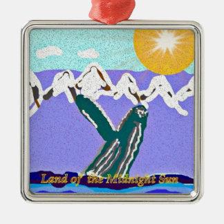 Breach to the Midnight sun Humpback Whale Metal Ornament