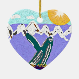 Breach to the Midnight sun Humpback Whale Double-Sided Heart Ceramic Christmas Ornament