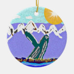 Breach to the Midnight sun Humpback Whale Christmas Ornament