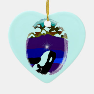 Breach to the Mountains Killer Whale Double-Sided Heart Ceramic Christmas Ornament