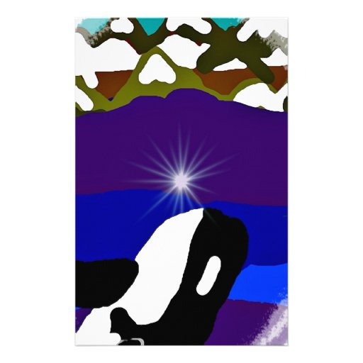 Breach to the Mountains Killer Whale Personalized Stationery