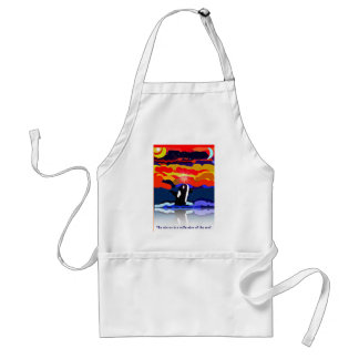 breaching for love Orca design gifts Aprons
