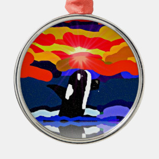 breaching for love Orca design gifts Metal Ornament