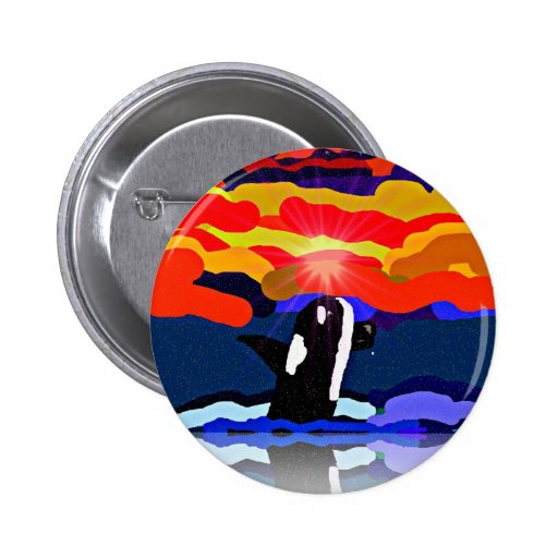 breaching for love Orca design gifts Pin