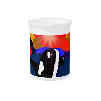 breaching for love Orca design gifts Beverage Pitchers