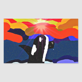 breaching for love Orca design gifts Rectangular Sticker