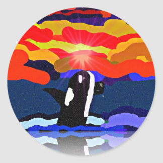 breaching for love Orca design gifts Classic Round Sticker
