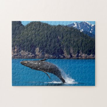 USA Themed Breaching Hump Back Whale. Jigsaw Puzzle