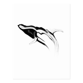 Breaching Humpback Whale Drawing Postcard