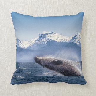 Breaching Humpback Whale In Alaska Throw Pillow