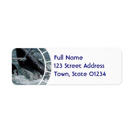 Breaching Humpback Whale Mailing Label Return Address Label