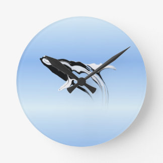 Breaching Humpback Whale Painting Round Clock