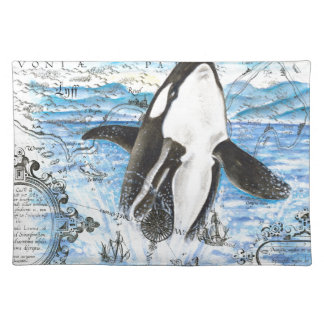 Breaching Orca Ancient Map Cloth Placemat