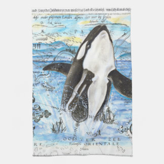 Breaching Orca Ancient Map Hand Towel