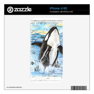 Breaching Orca Ancient Map iPhone 4S Skin