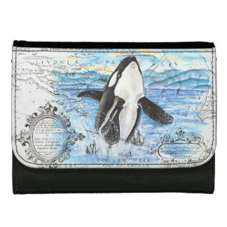 Breaching Orca Ancient Map Leather Wallet For Women