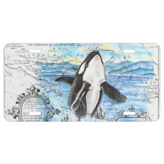 Breaching Orca Ancient Map License Plate