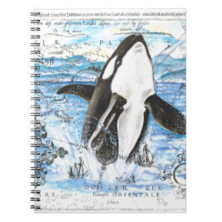 Breaching Orca Ancient Map Notebook