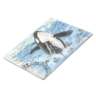 Breaching Orca Ancient Map Notepad