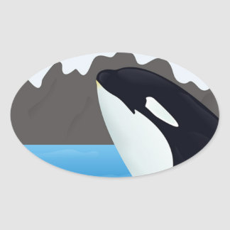 Breaching Orca and Mountains Oval Sticker