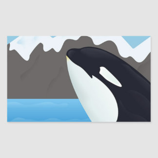 Breaching Orca and Mountains Rectangular Sticker