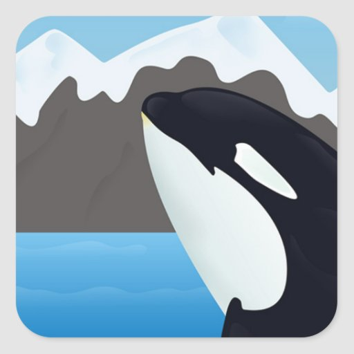 Breaching Orca and Mountains Square Sticker