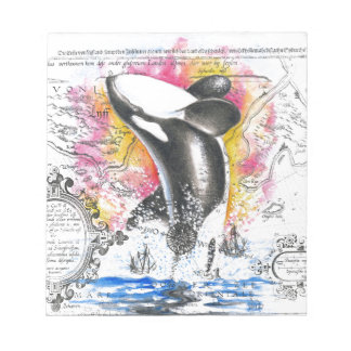 Breaching Orca Whale Vintage Map Rainbow Notepad