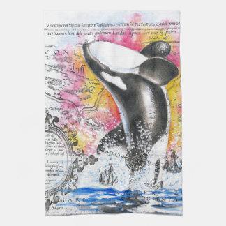 Breaching Orca Whale Vintage Map Rainbow Towel