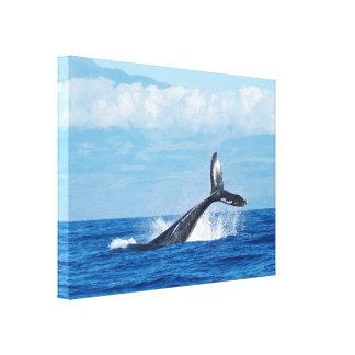 Breaching Whale Blue Sea Canvas Print