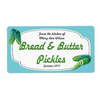 Bread and Butter Pickles Canning Label