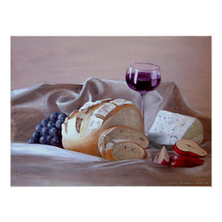 Bread and Cheese with Merlot Poster