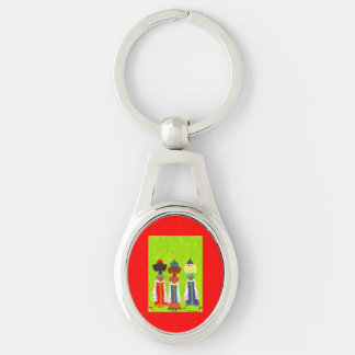 Bread and Salt Girls Silver-Colored Oval Metal Keychain